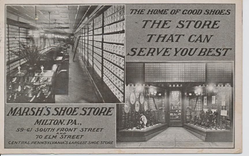 Postcard showing Marsh Shoe Store, Milton a hundred years ago (postally used December 1910).
