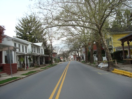 Recent view of the homes that Grandma would have walked by as she entered Watsontown.