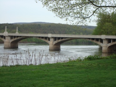 Recent photo of the bridge at Watsontown. This is the second bridge that was built a this site. It's hard to believe that a hundred years ago the first bridge had not yet been built.