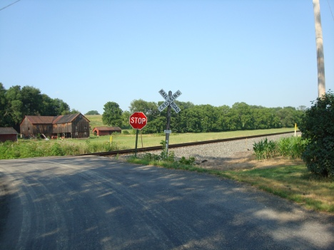 Recent photo of the railroad tracks that cross the Muffly farm.