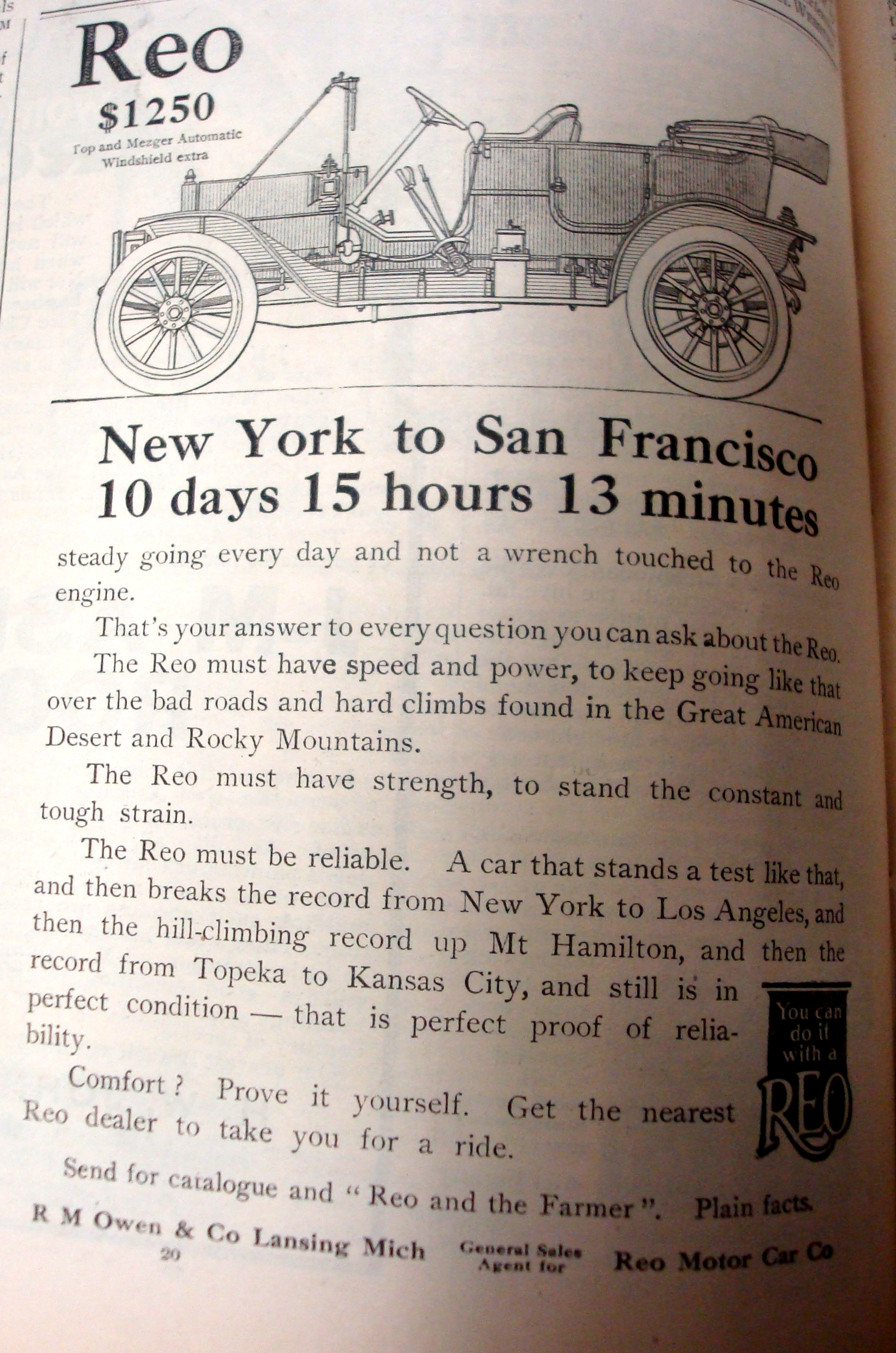 Reo car ad how long does it take to drive from new york to san reo car advertisement solutioingenieria Images
