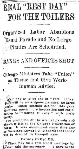 Labor Day, September 2, 1912 Chicago Morning Tribune Article