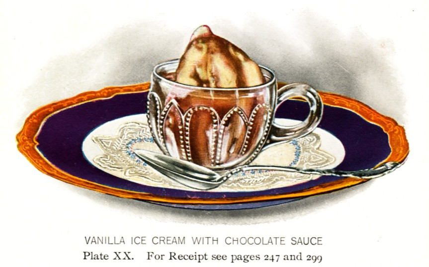 I couldn't find an old photo of chocolate ice cream, but here's a picture of vanilla ice cream with chocolate sauce that was in Lowney's Cookbook (1912).