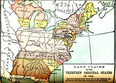Map Titled Land Claims of the Thirteen Original Colonies in American History for Schools (1913)