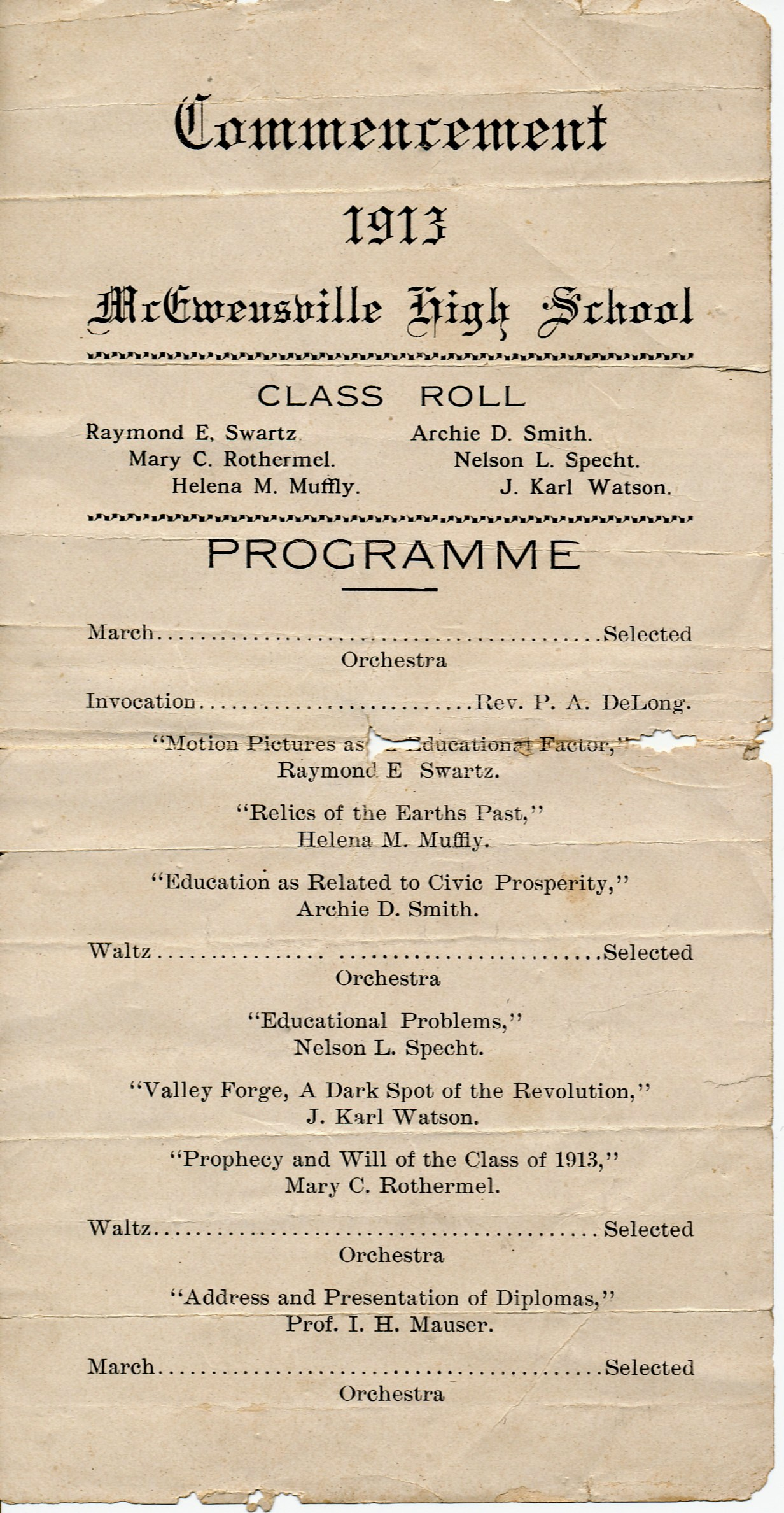 graduation day a hundred years ago commencement program 1