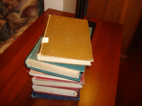 Pile of hundred-year-old textbooks waiting for me to return them to the library