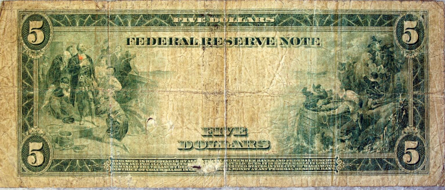 5 Dollar Bill Back