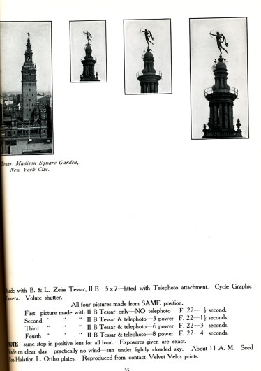 Pictures of the Tower at Madison School Garden (New York City). Here's an illustration from a hundred-year-old book called Practical Suggestions Regarding the Selection and Use of a Photographic Equipment that shows how F stops on a camera should be set for different magnification levels.