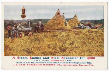 Old postcard advertising a Case threshing machine. [circa 1910]