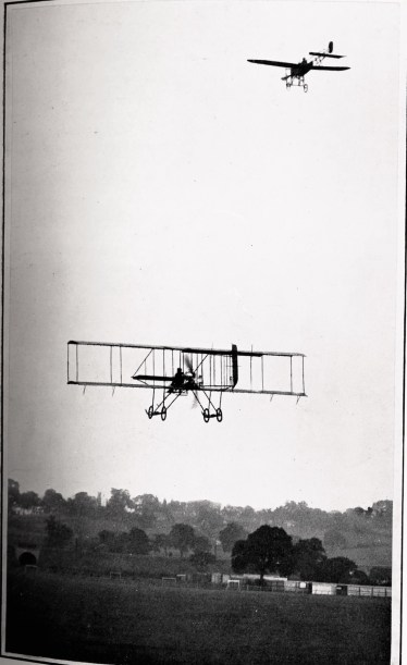 Caption:  A Bleriot monoplane descending and a Farman-type biplane ascending. The biplane is flying away from the camera and the monoplane is approaching from above. (Source: Aviation: An Introduction to the Elements of Flight (1913)