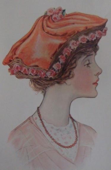 1913 orange velvet hat