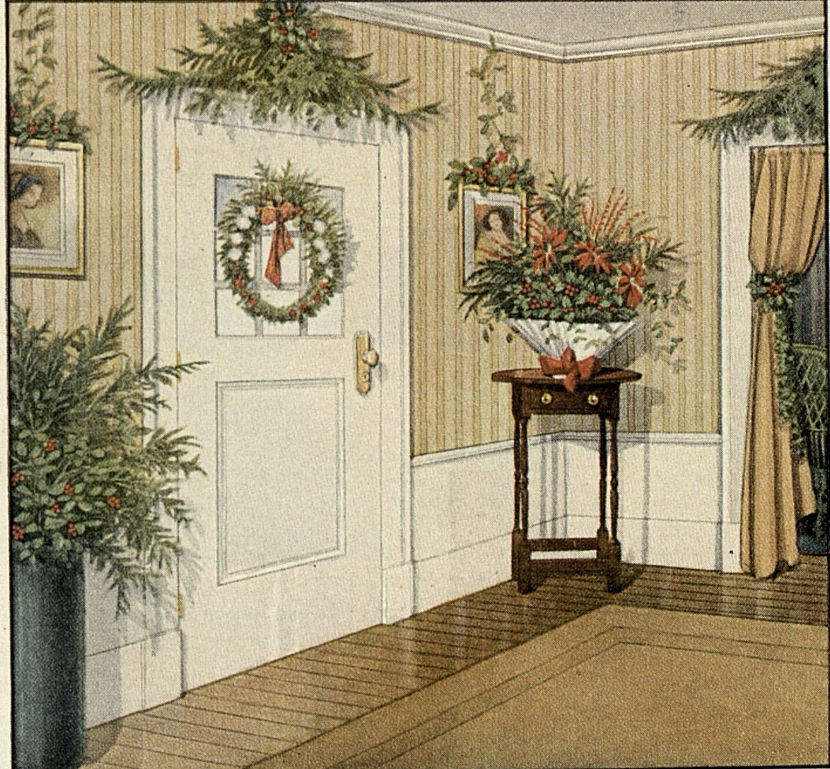 Old House Christmas Decorations: Old-Fashioned Christmas Greenery Decorating Ideas