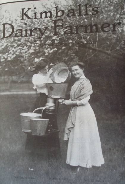 Women with buckets of milk and a cream separator (Source: Kimball's Dairy Magazine--March 1, 1914)