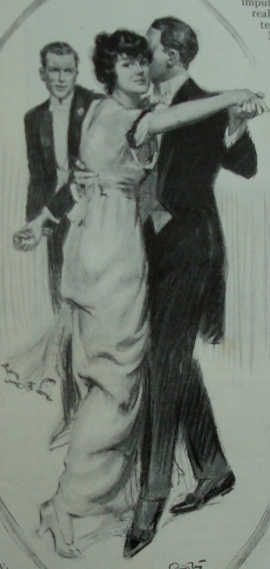 I don't think people wore fancy clothes like this at dances in rural Pennsylvania, but it nicely illustrates the post. ( Photo source: Ladies Home Journal: April, 1914)