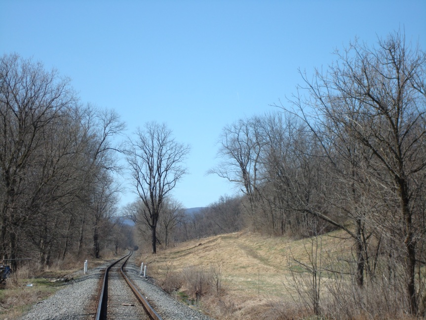Recent photo of the railroad track near Grandma's farm. (The view is looking toward Watsontown.)