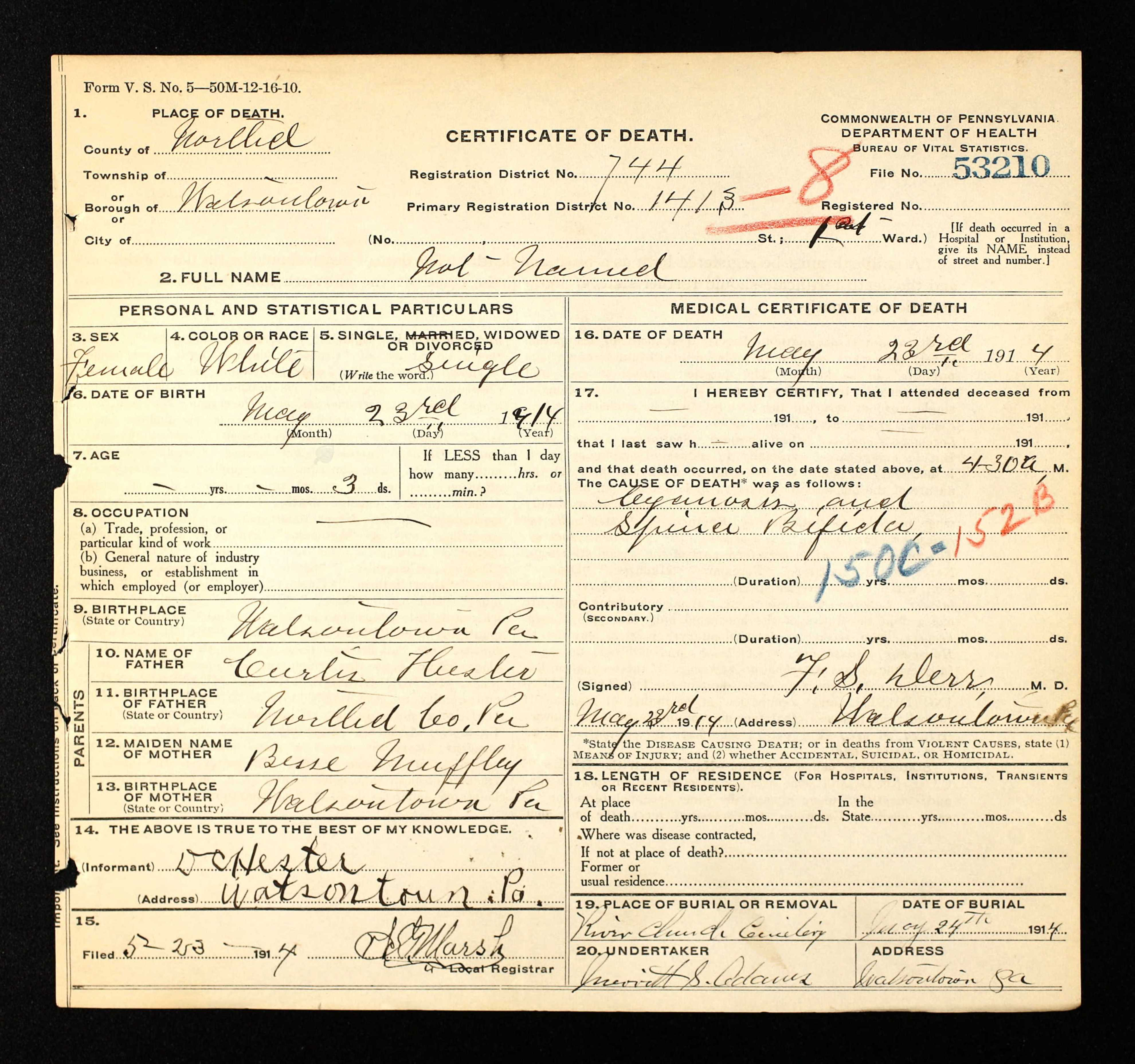Baby hesters death certificate a hundred years ago hester baby death certificate 5 23 1914 xflitez Gallery