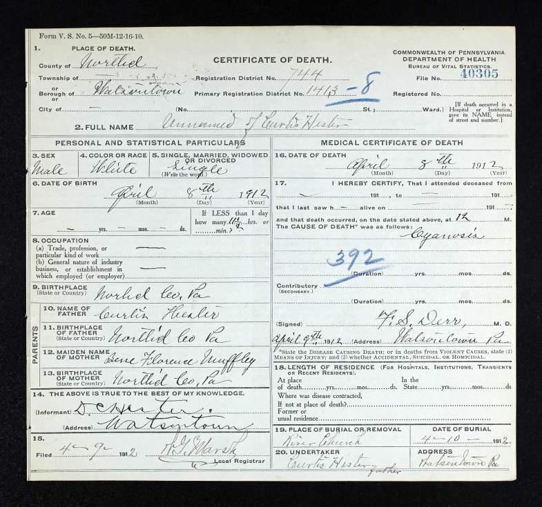 hester death certificate 1912