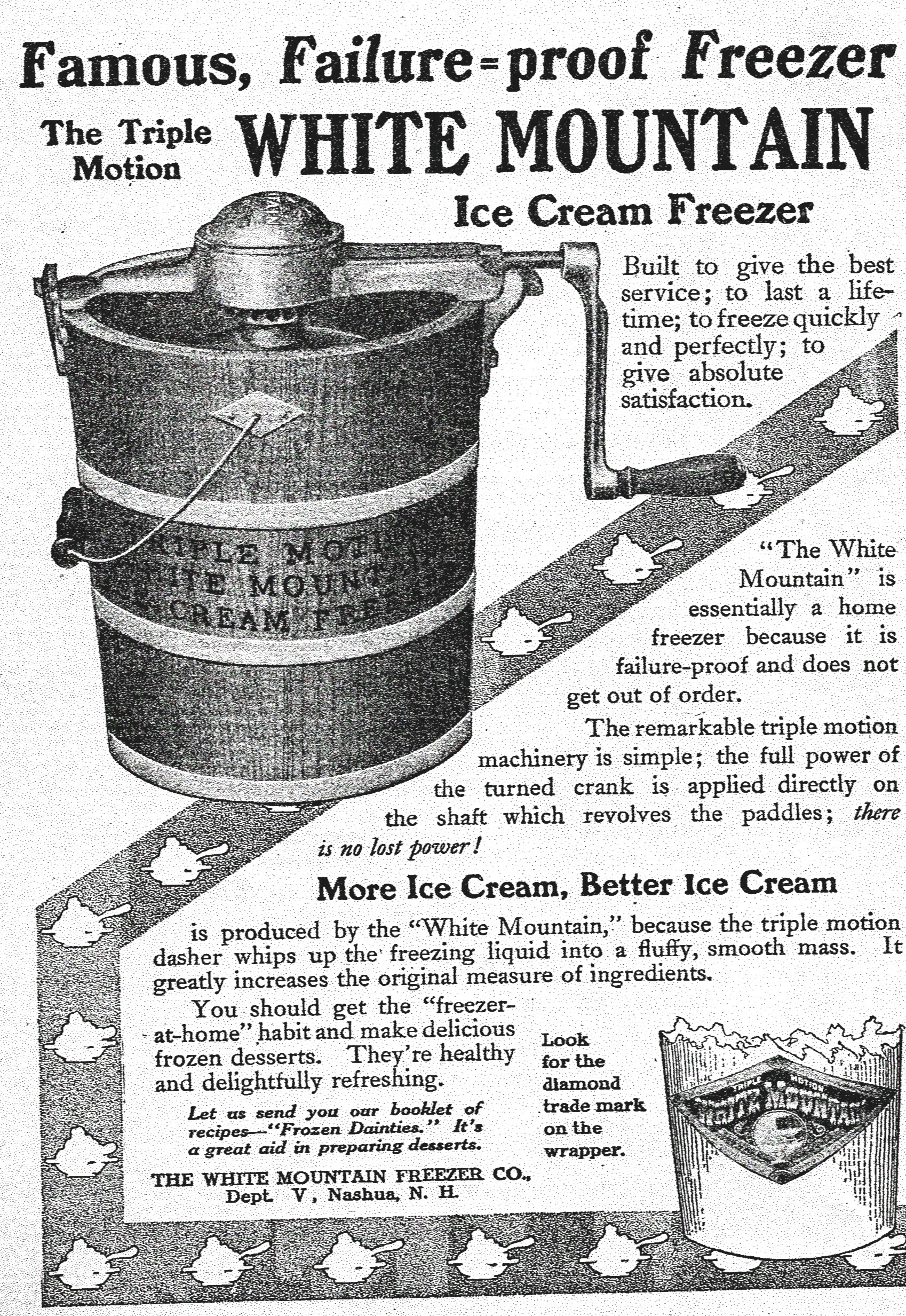 white mountain ice cream freezer advertisement a hundred years ago