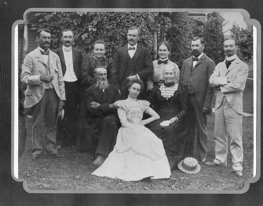 John and Sarah Derr Family. Taken about 1900. L to R. Front Row: John, Annie (Derr) Van Sant, Sarah. Back Row: Miles, Fuller, Alice (Derr) Krumm, Elmer, Phoebe (Derr) Muffly, Judson, Homer (John Derr would died prior to this reunion.)