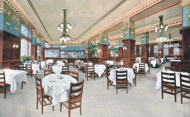 Statler Restaurant in Statler Hotel, Elliicott Square, Buffalo NY, circa 1915  (Source:  Western New York Heritage)