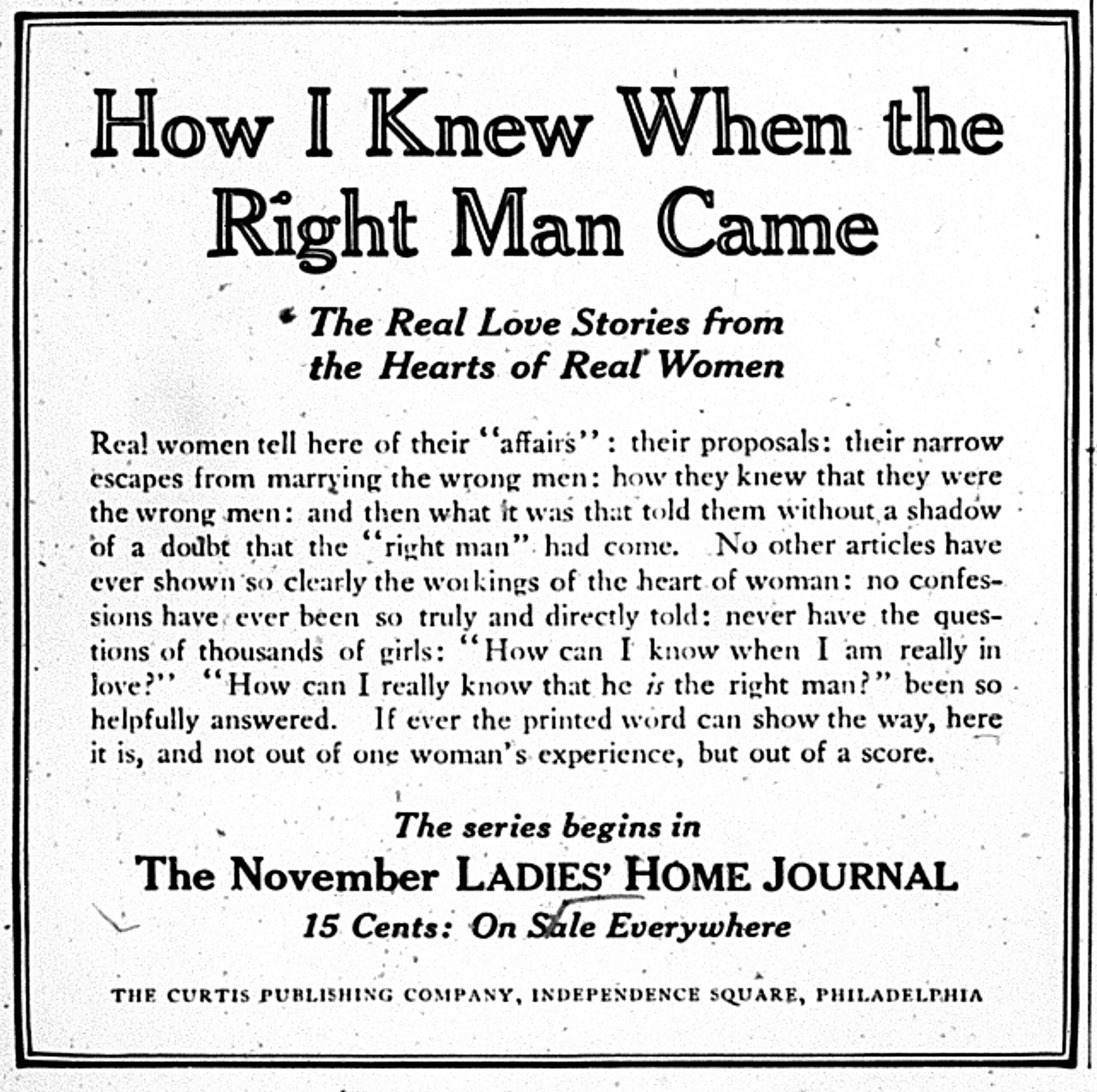 How I Knew When The Right Man Came Along A Hundred Years Ago