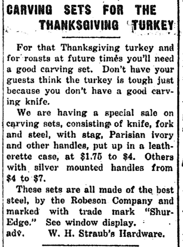 Adversitement for Carving Sets for Thanksgiving turkey