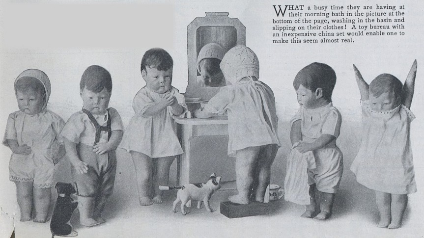 Dolls waiting for turn to wash-up at sink