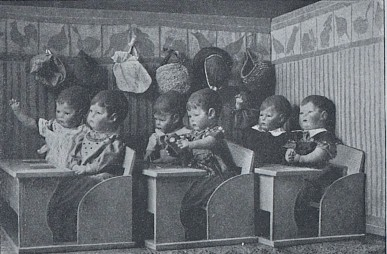 dolls in a classroom