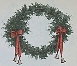 wreath with red ribbons and bells