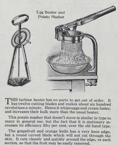 old egg beater and potato masher