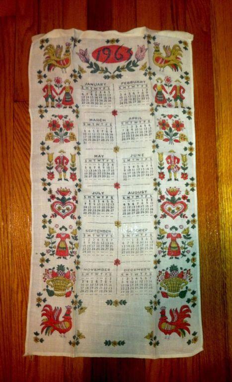 cloth calendar 1963