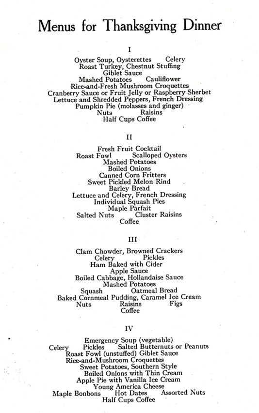 Hundred-year-old Thanksgiving Menus – A Hundred Years Ago