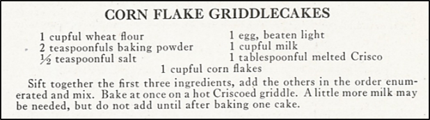recipe for corn flake griddlecakes