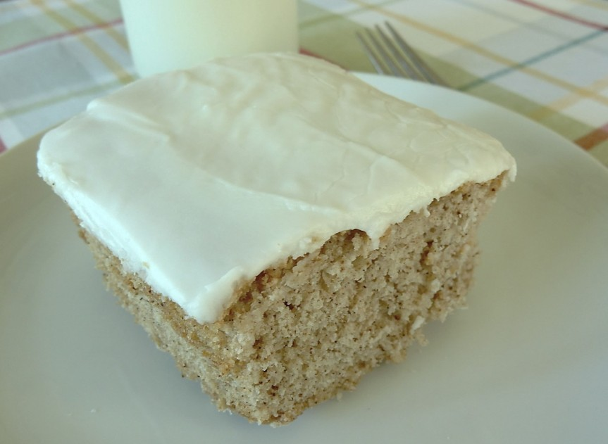 square piece of feather cake