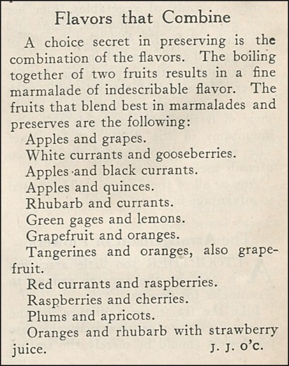 list of fruit combinations that work well when making marmalades and preserves