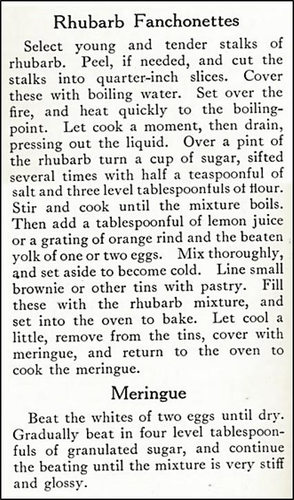 rhubarb fanchonettes recipe