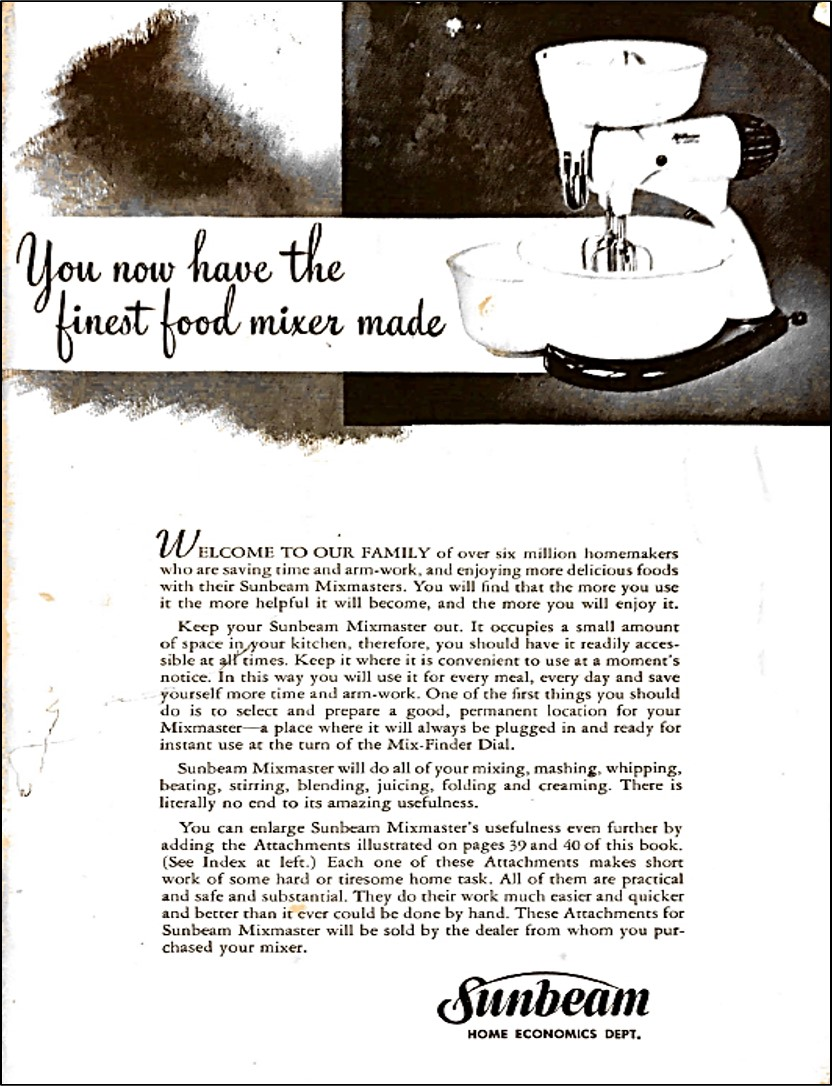 First page of cookbook with photo of a Sunbeam Mixmaster Mixer