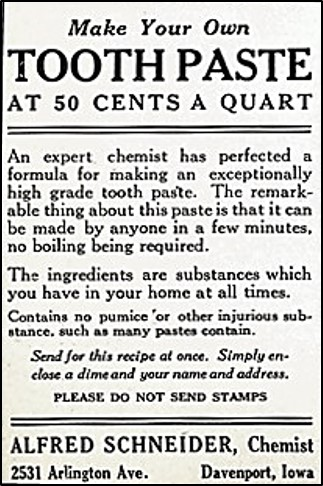 toothpaste recipe advertisement