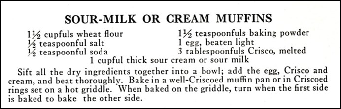 Recipe for Sour Milk or Sour Cream Muffins