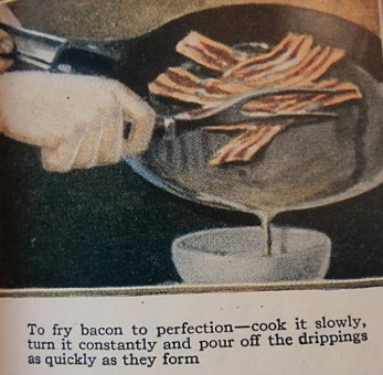 Picture of bacon frying in a pan with directions for making it.
