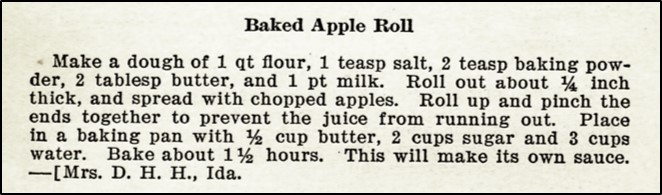 Recipe for baked apple roll