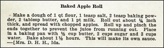 Recipe for baked apple roll