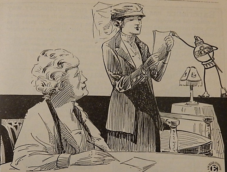 drawing of woman making a speech