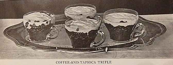 4 single servings of coffee and tapioca trifle in cups