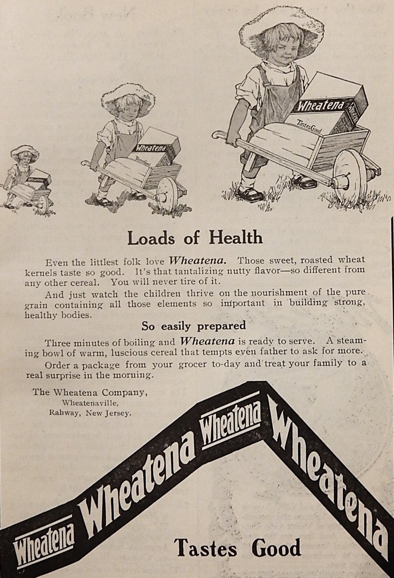 Advertisement for Wheatena with girl pushing wheelbarrow