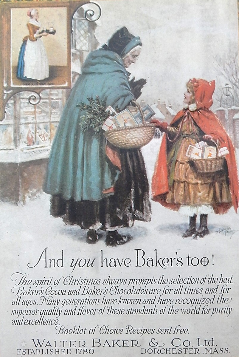 Woman and girl with baskets of holiday treats in advertisement for Baker's Chocolate