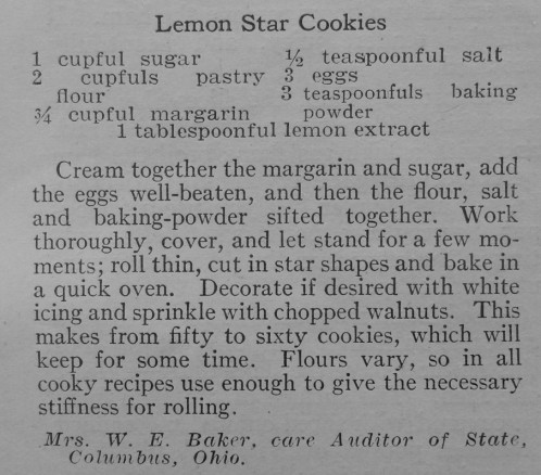 Recipe for Lemon Star Cookies
