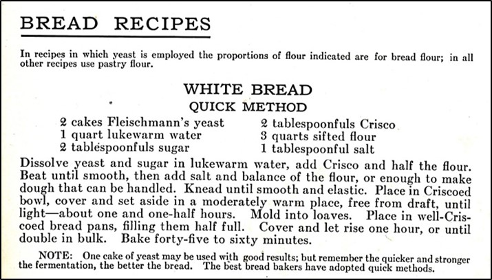 Recipe for white bread