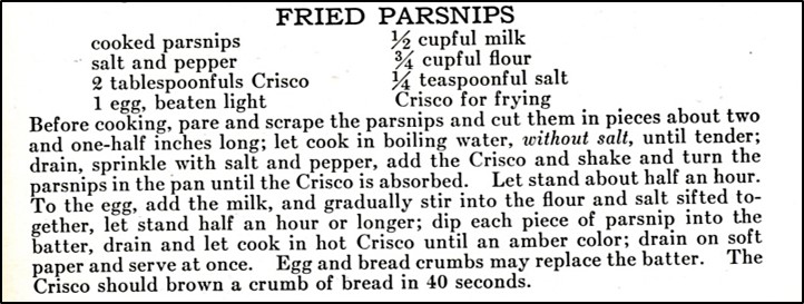 Recipe for Fried Parsnips
