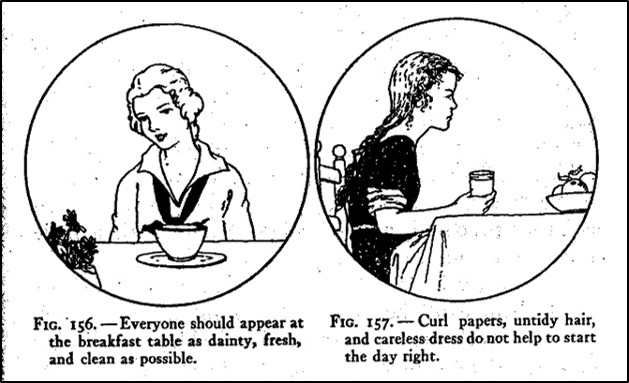 Two images of young women eating breakfast - one well-groomed; the other not